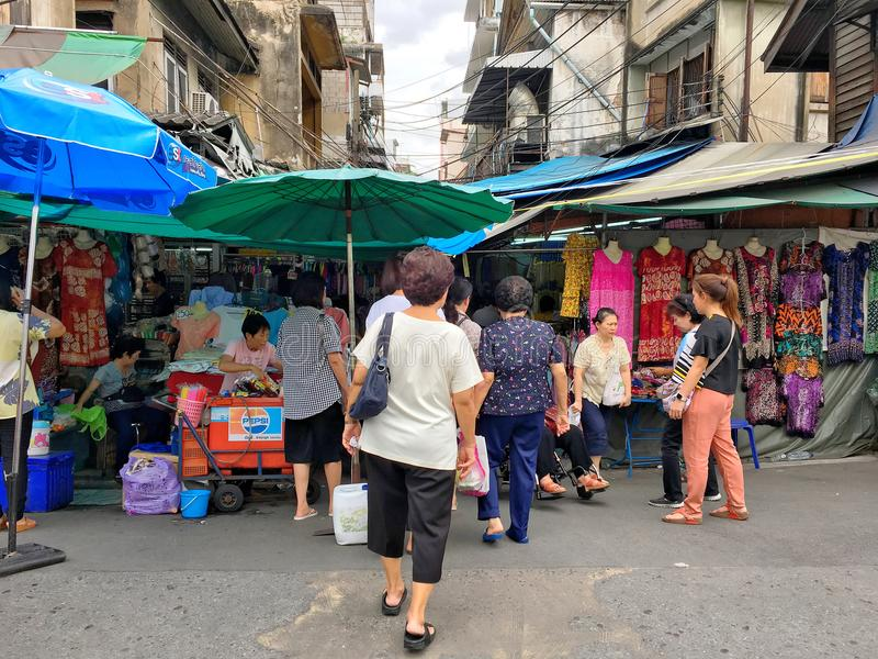 Some parts of city life of Thai people in the downtown of Bangkok which is busy with many social activities. Bangkok, Thailand stock photography