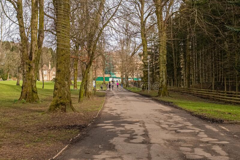 Some People Attempting to Social Distance within Dean Castle Country Park Kilmarnock Scotland During the Covid-19 Corona Outbreak. Kilmarnock, Scotland, UK stock photography