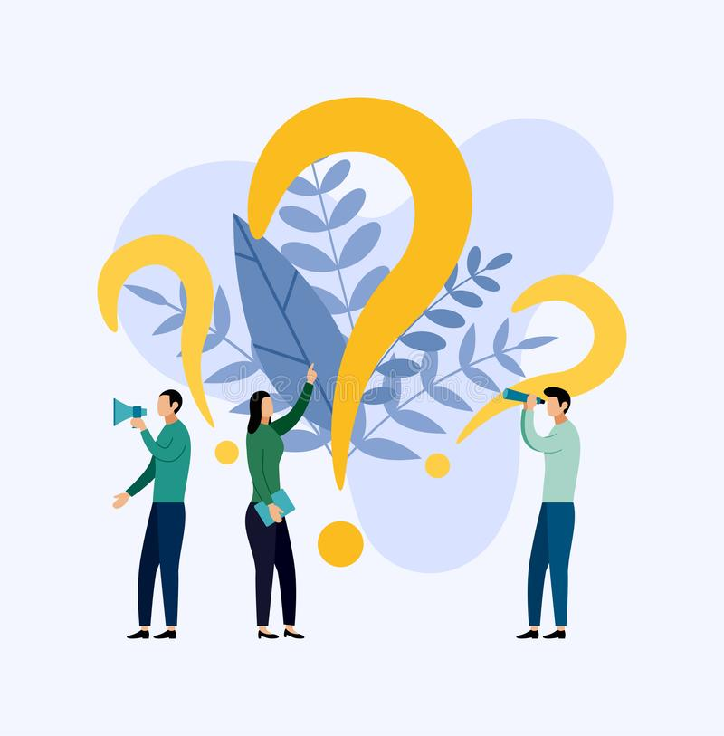 Some people are looking for questions, business concept. Vector illustration stock illustration