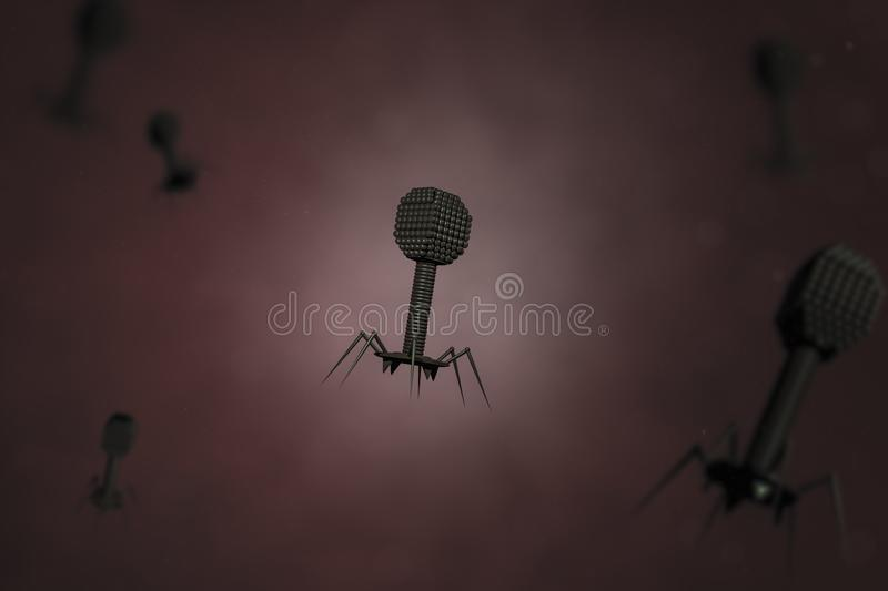 Bacteriophage viruses composing stock image