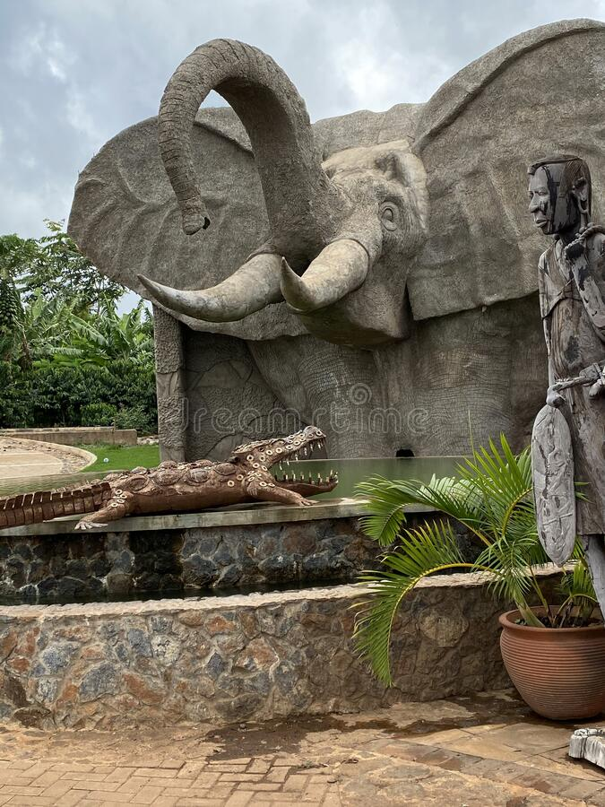 African carved wildlife art stock photo