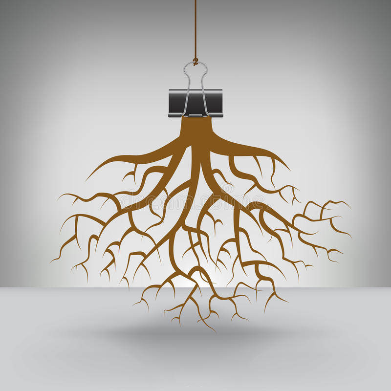 Free Some Roots Hung By A Binder Clip Royalty Free Stock Photo - 52097315