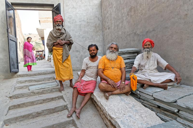 Some Sadhus in an Ashram. JAIPUR, INDIA, October 27, 2017 : Sadhus in an Ashram. A sadhu is a religious ascetic, mendicant or any holy person in Hinduism and stock image