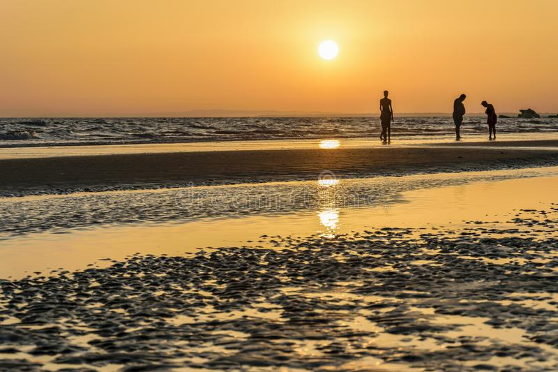 Silhouettes of people at sunset on the beach. Some silhouettes of people at sunset on the beach royalty free stock image