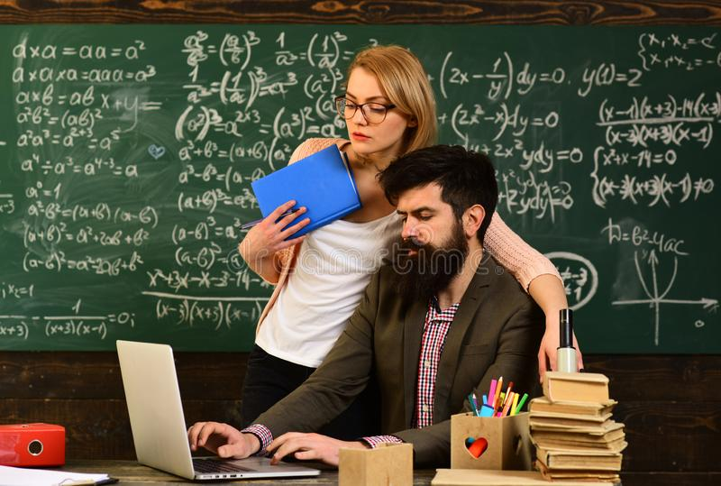 Some students learn best by listening, Education university learning and people concept, Teacher is warm accessible. Enthusiastic and caring, Students may get stock photo