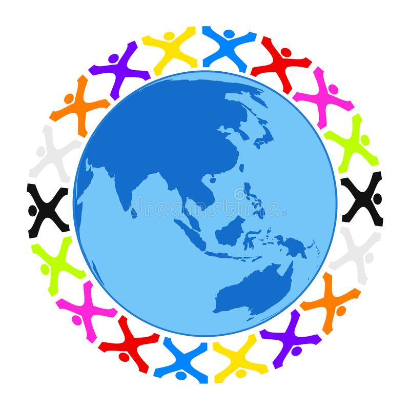 Some stylized people building a circle around the earth. Illustration of some stylized people building a circle around the earth asia royalty free illustration