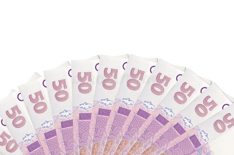 Some ukrainian 50 hryvnia banknotes indicating growing economics with copyspace above. Some new ukrainian 50 hryvnia banknotes indicating growing economics with royalty free stock photos
