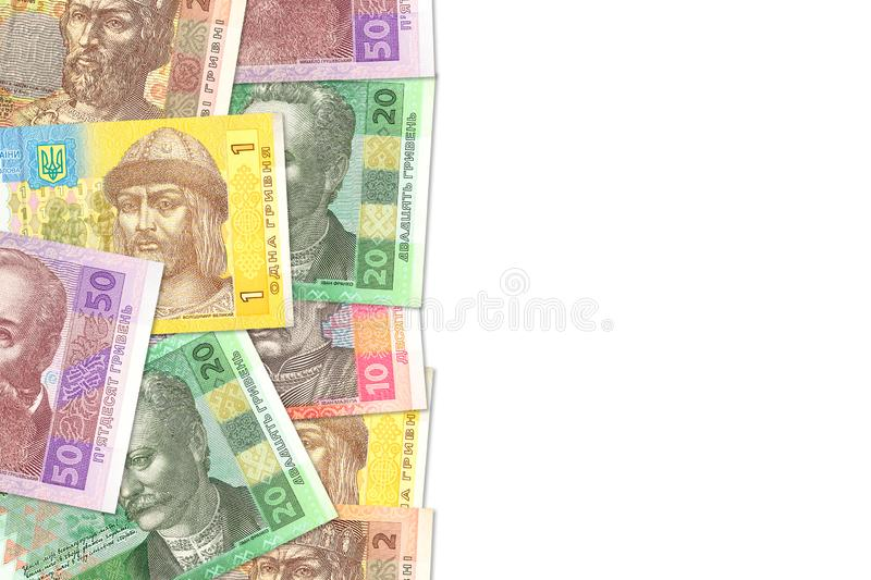 Some ukrainian hryvnia banknotes indicating growing economics with copyspace on the right. Some new ukrainian hryvnia banknotes indicating growing economics with stock photo