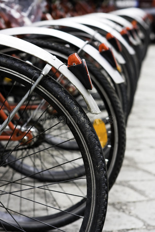 Some urban rentable bike in parking stock photography