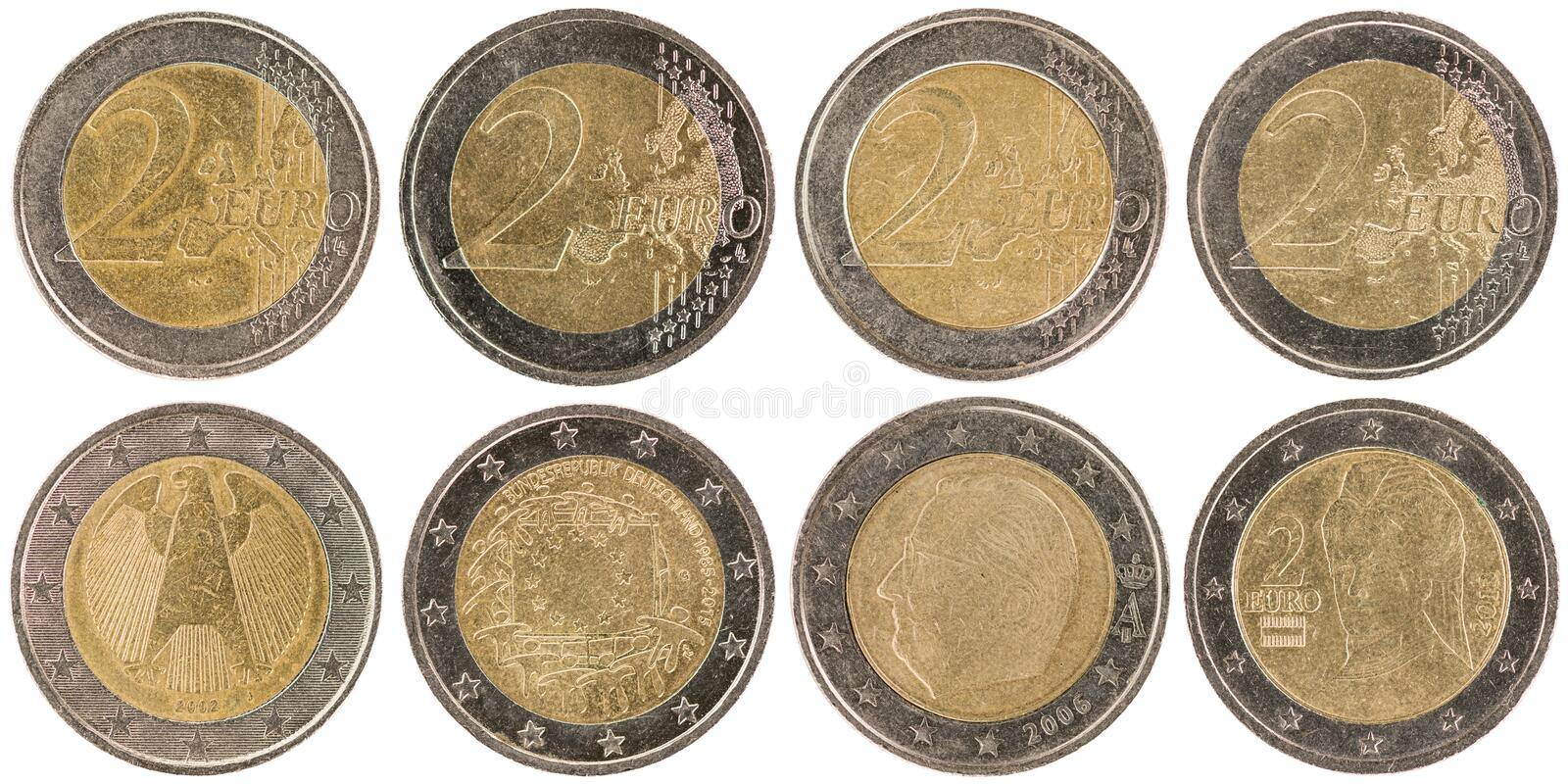 European 2 Euro Coins front and back isolated on white backgro. Some used European 2 Euro Coins front and back isolated on white background stock image