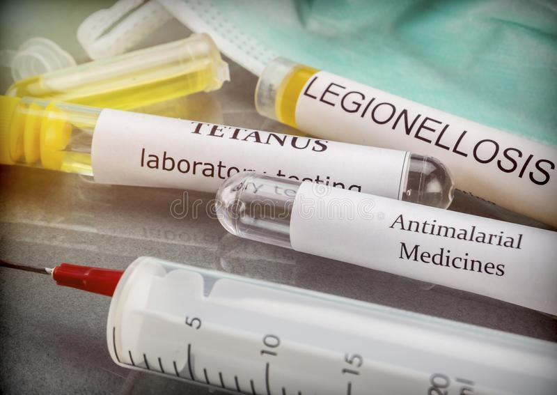 Some vials with samples of contagious diseases in a clinical laboratory. Conceptual image royalty free stock photos