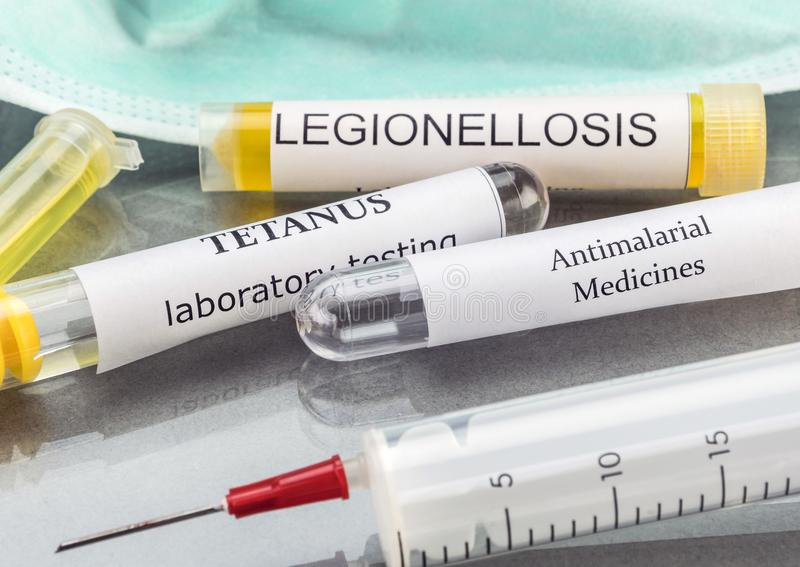 Some Vials With Samples Of Contagious Diseases In A Clinical Laboratory. Conceptual image royalty free stock images