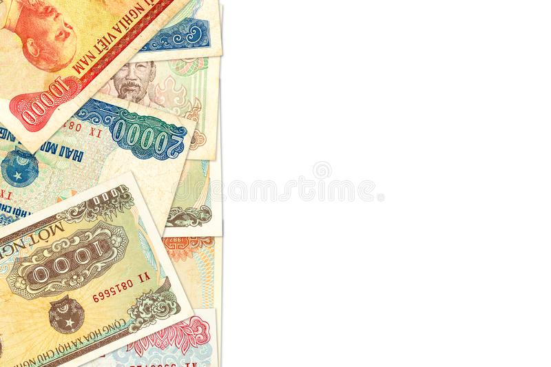 Some vietnamese bank notes with copy space indicating growing economy stock images