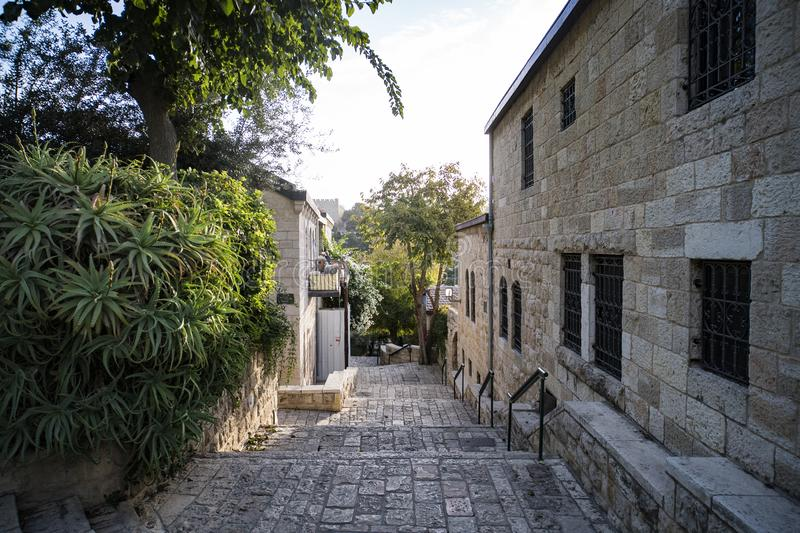 Some vintage lane of a picturesque middle eastern town. Regular life of an old european township. Narrow street with stone royalty free stock images
