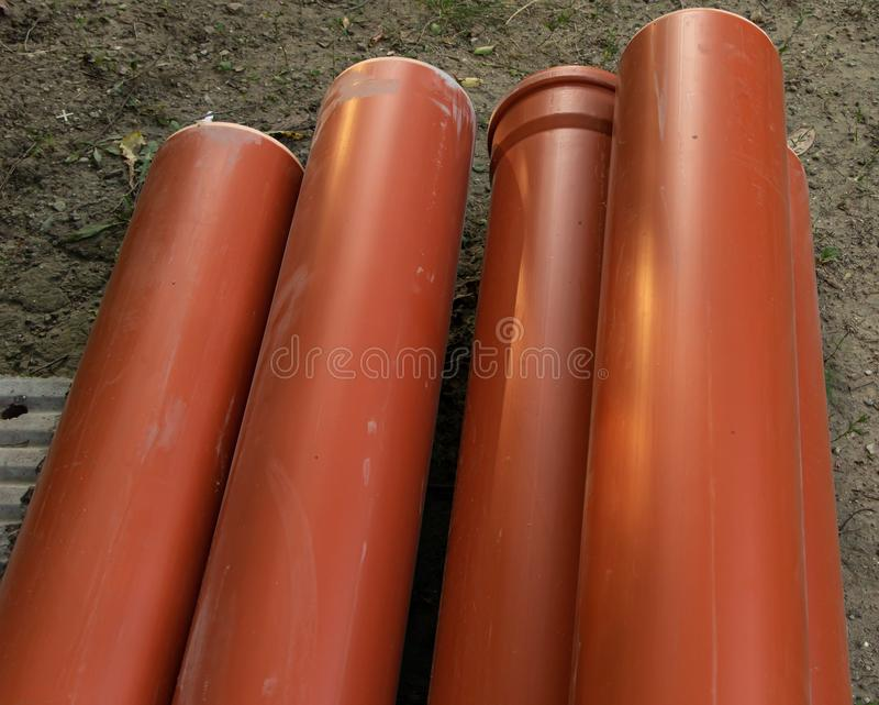 Some water sewer pipes. Sanitary installation concept royalty free stock photo
