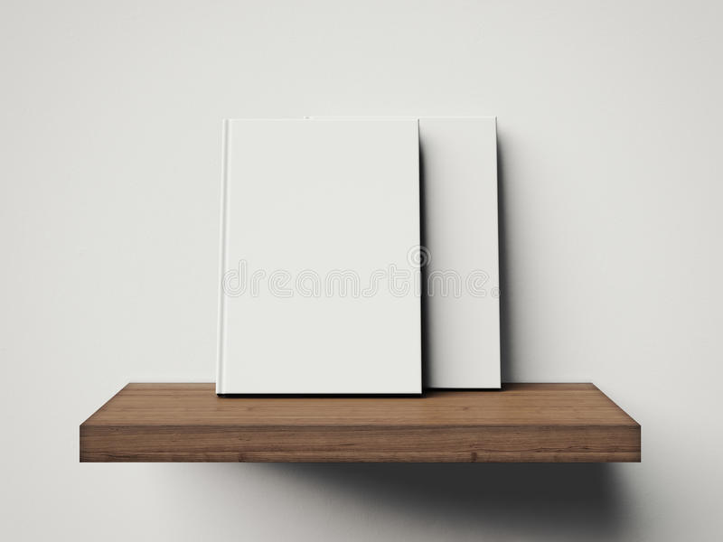 Some white books on a brown shelf. 3d rendering. Blank white books on a brown shelf vector illustration