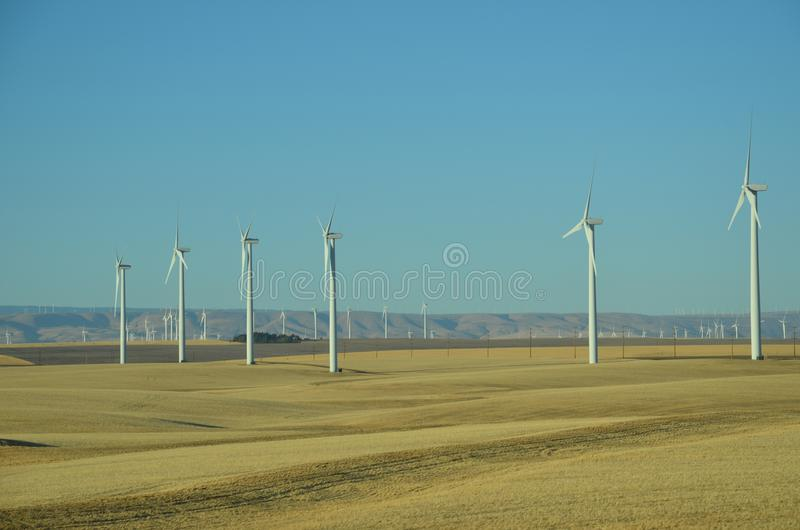 Windmills of a Windmill Farm in Central Oregon royalty free stock photography