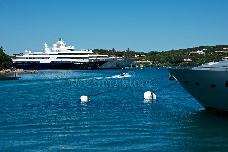 Some yachts moored in Porto Cervo`s marina royalty free stock image