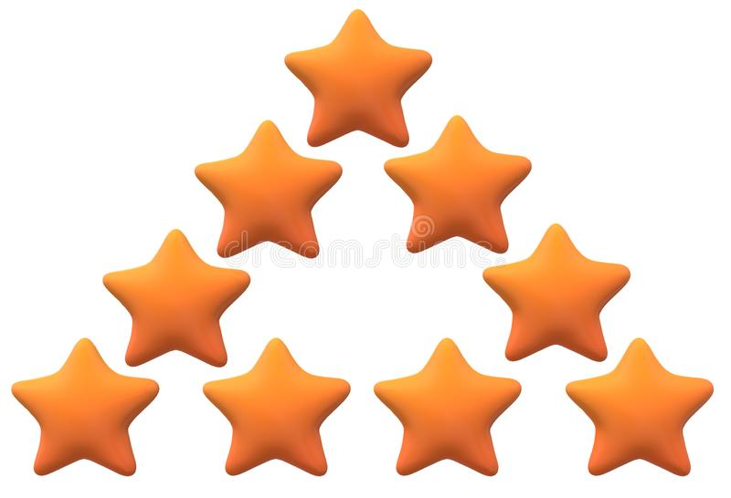 Some yellow stars arranged in the shape of a triangle. A computer generated illustration image of some yellow stars arranged in the shape of a triangle against a vector illustration