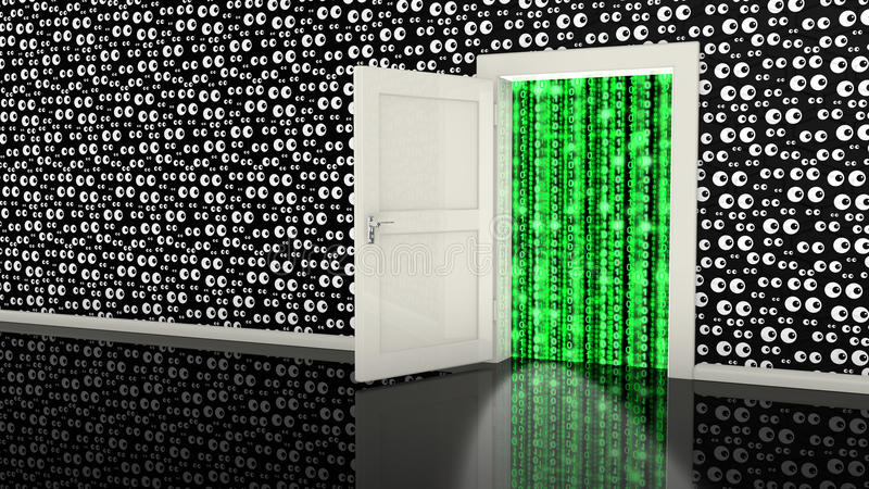 Somebody is watching all our data. Open white backdoor in a black wall with eyes leading to a digital green stream made from ones and zeros cybersecurity concept vector illustration