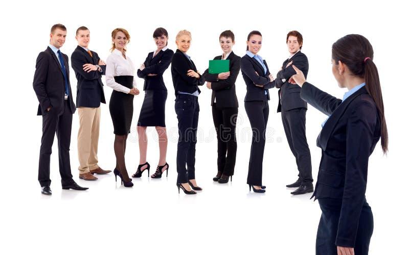 Somenone da colheita da mulher de negócios de sua equipe foto de stock royalty free