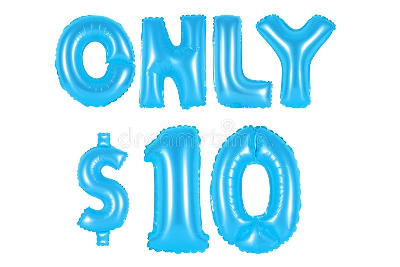 Somente dez dólares, cor azul fotografia de stock royalty free