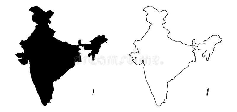 Somente mapa afiado simples dos cantos da Índia que inclui Andaman e ilustração stock