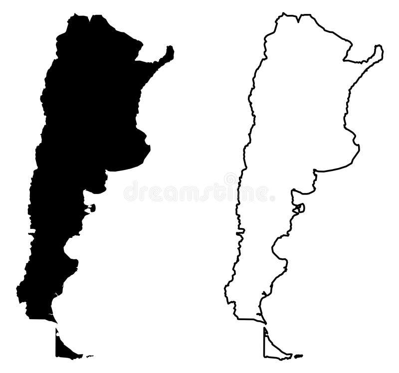 Somente mapa afiado simples dos cantos de Argentina Argentine Republic ilustração royalty free