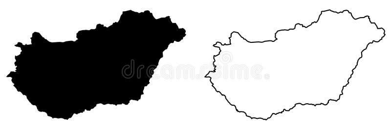 Somente mapa afiado simples dos cantos do desenho do vetor de Hungria Merca ilustração stock