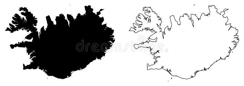 Somente mapa afiado simples dos cantos do desenho do vetor de Islândia Merca ilustração stock