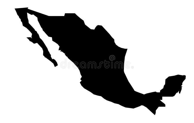 Somente mapa afiado simples dos cantos do desenho do vetor de México ilustração royalty free