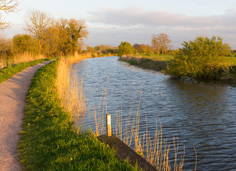 Somerset canal Bridgwater and Taunton West England UK. Bridgwater and Taunton Canal Somerset England UK peaceful waterway in the west country royalty free stock image