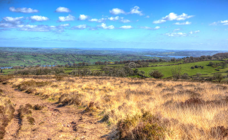 Somerset country view from Black Down Mendip Hills in colourful HDR. View from Black Down the highest hill in the Mendip Hills Somerset in south-west England stock photo