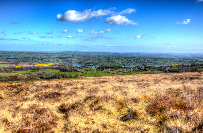 Somerset countryside view from Black Down Mendip Hills in colourful HDR. View from Black Down the highest hill in the Mendip Hills Somerset in south-west England stock photos