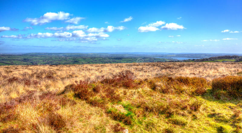 Somerset countryside view from Black Down Mendip Hills in colourful HDR. View from Black Down the highest hill in the Mendip Hills Somerset in south-west England royalty free stock photography