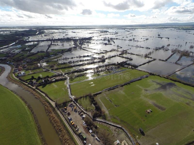Somerset Floods 2014 em moreland imagem de stock