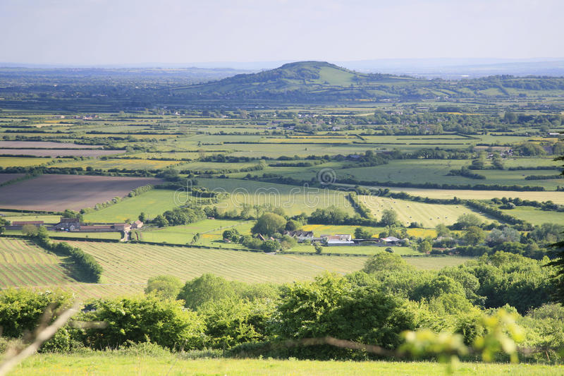 Somerset landscape view. View of Brent Knoll in the county of Somerset in the southwest of the UK royalty free stock images
