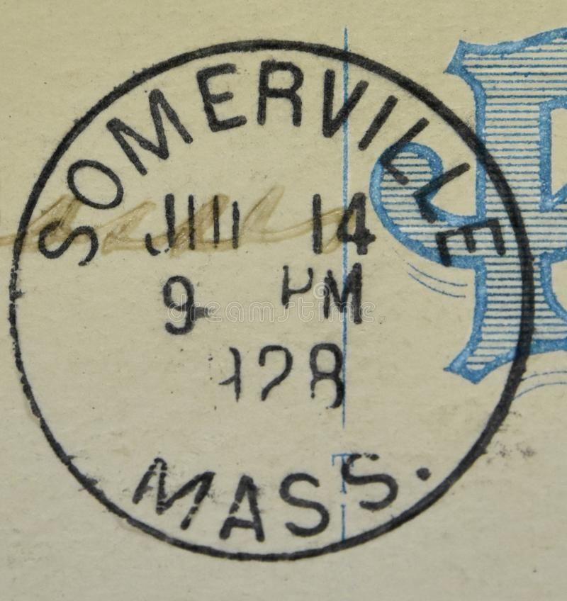 Somerville Massachusetts 1928 American Postmark. A postcard cancellation from Somerville Massachusetts. This image could illustrate travel, tourism, philately or stock images