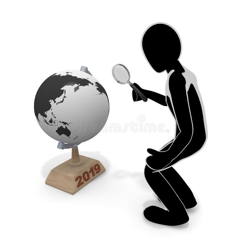 A globe and a person / magnifying glass / 3D illustration. Something happens on the earth. Event of 2019. Examine with a magnifying glass. Examine the earth stock illustration