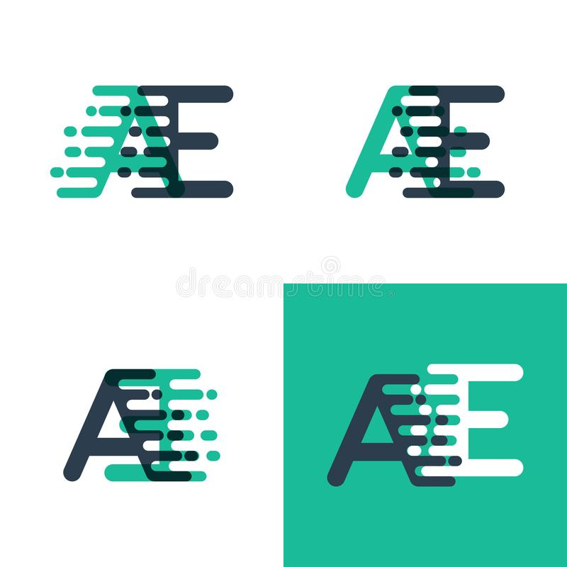 AE letters logo with accent speed in tosca green and dark blue. Something like AE letters logo with accent speed in tosca green and dark blue royalty free illustration