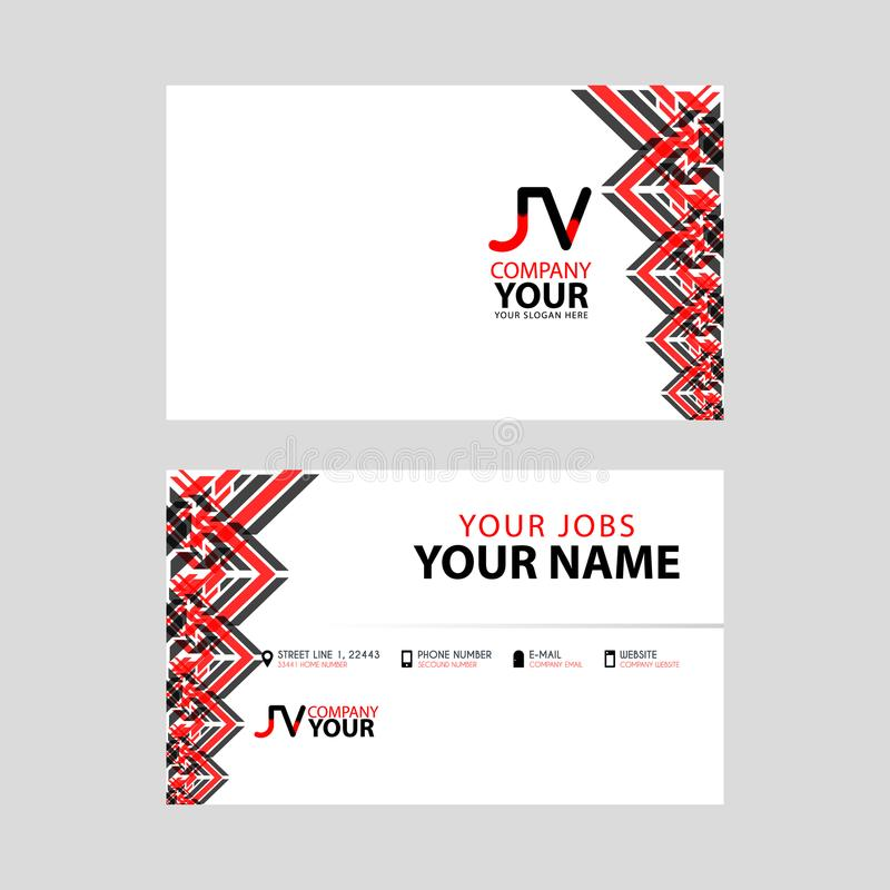 The JV logo on the red black business card with a modern design is horizontal and clean. and transparent decoration on the edges. royalty free illustration
