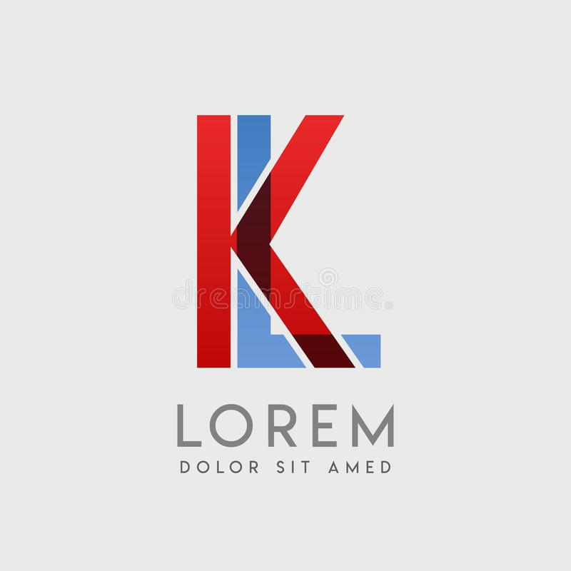 KL logo letters with blue and red gradation vector illustration