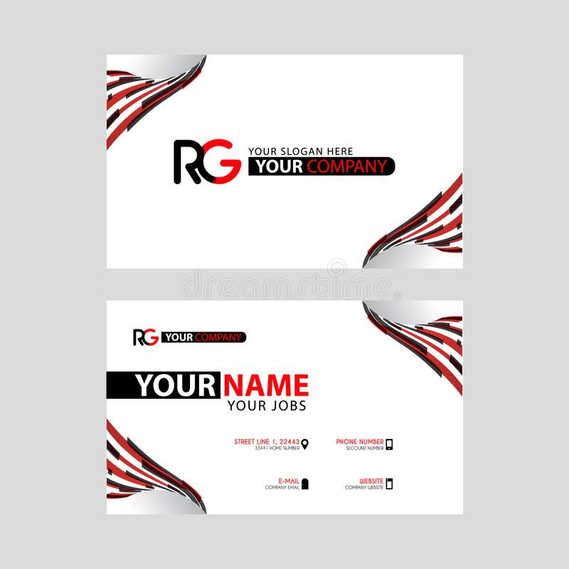 Logo RG design with a black and red business card with horizontal and modern design. Something like Logo RG design with a black and red business card with royalty free illustration