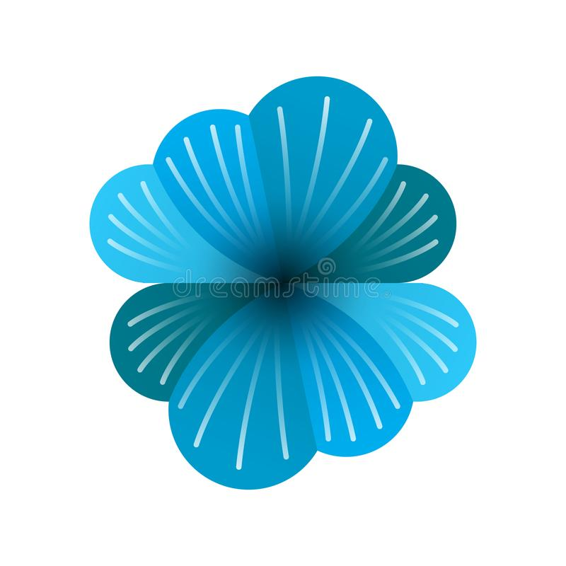 Logo two blue clouds with white lines and flowers, blue flower logos with double data security stock illustration