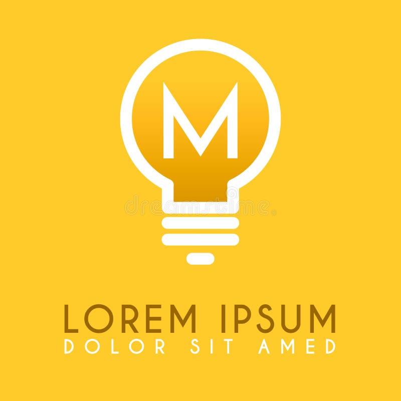 M yellow lamp logo letter in vector design vector illustration