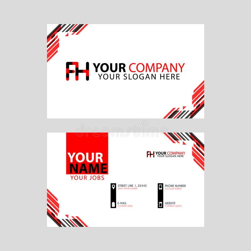 Modern business card templates, with FH logo Letter and horizontal design and red and black colors. stock illustration