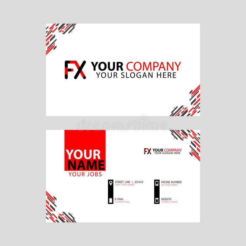 Modern business card templates, with FX logo Letter and horizontal design and red and black colors. vector illustration