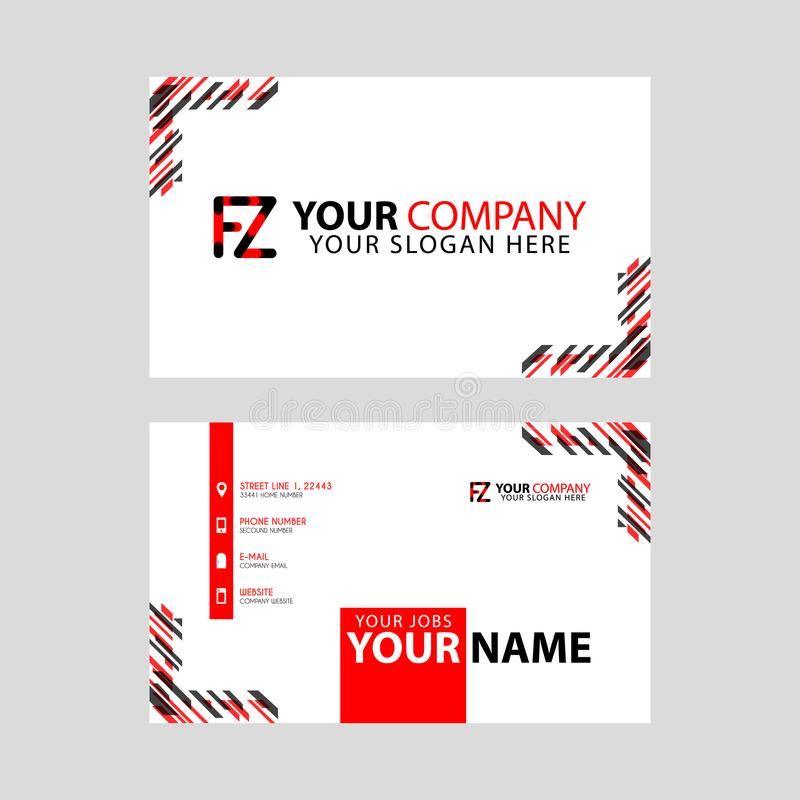Modern business card templates, with FZ logo Letter and horizontal design and red and black colors. vector illustration