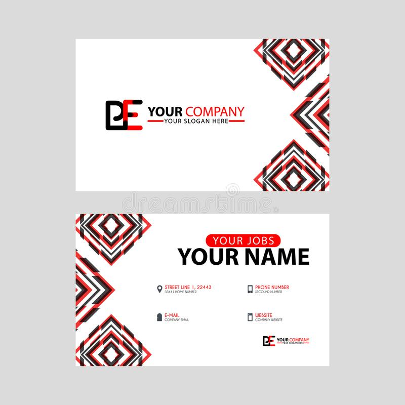 Modern business card templates, with PE logo Letter and horizontal design and red and black colors. royalty free illustration