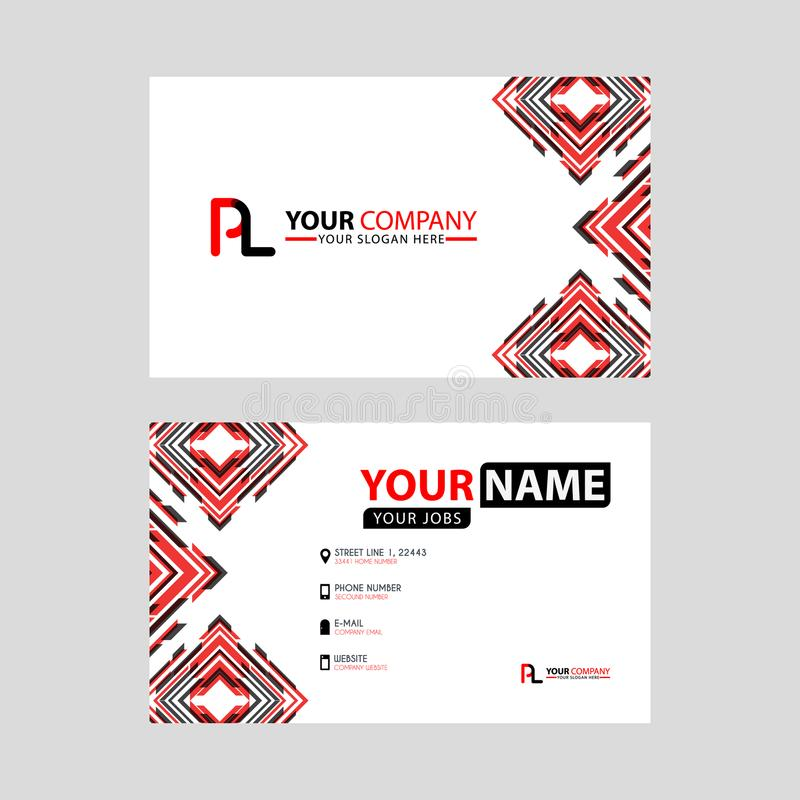Modern business card templates, with PL logo Letter and horizontal design and red and black colors. vector illustration